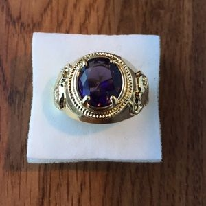 18K Gold filled 4CT Purple amethyst size 8